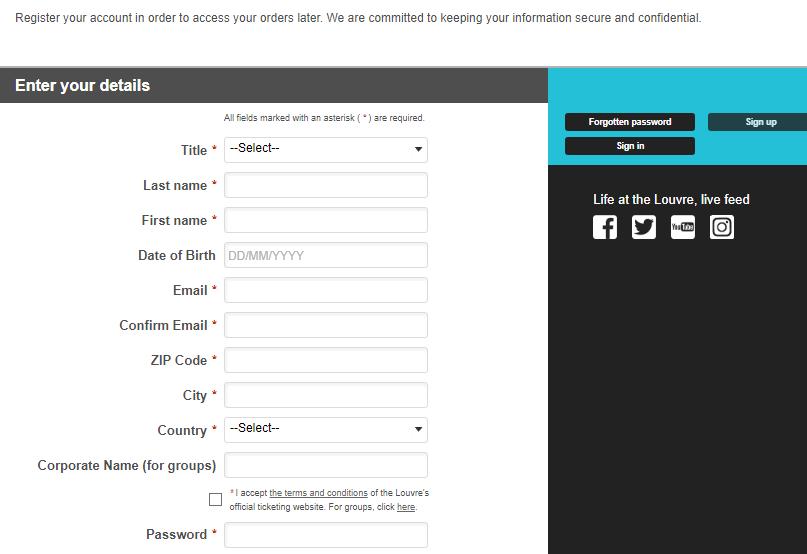 Регистрация на сайте Лувр