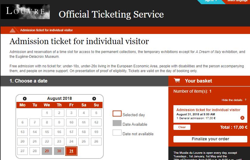 Билеты в музей Лувр