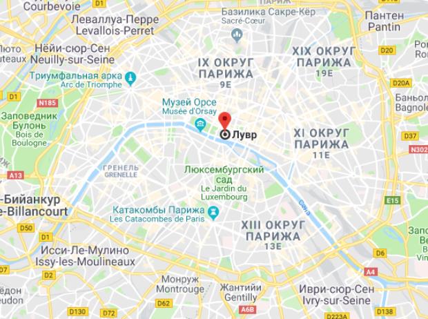 Лувр на карте Парижа